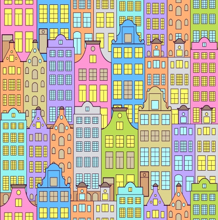 Vector illustration of seamless pattern with colorful buildings Vector
