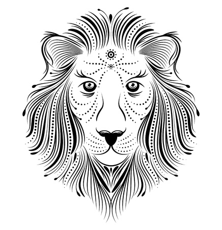 Vector illustration d'un lion abstrait sur fond blanc
