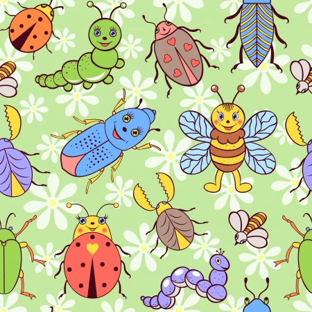 Vector illustration of seamless pattern with cute colorful insects.  Vector