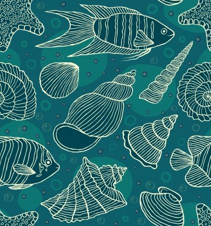 熱帯: 海の住民とのシームレスなパターンのベクトル イラスト。水中の世界
