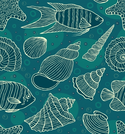 Vector illustration of seamless pattern with ocean inhabitants.Underwater world Illustration