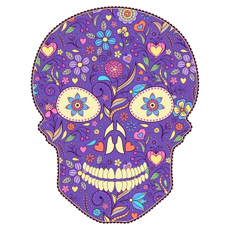 Vector Illustration of abstract  floral skull isolated on white background.