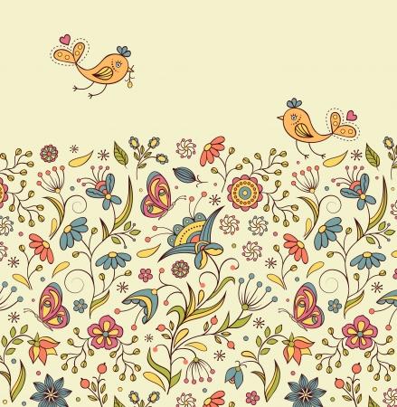hart bloem: Vector illustratie van patroon met abstracte bloemen en birds.Floral achtergrond Stock Illustratie