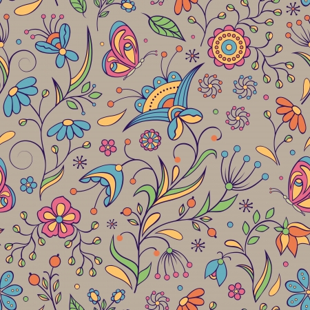 Vector illustration of seamless pattern with abstract flowers.Floral background Stock Vector - 18576455