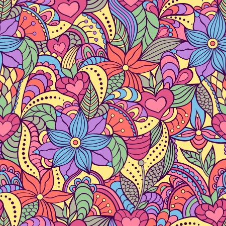 Vector illustration of seamless pattern with abstract flowers.Floral background Vector