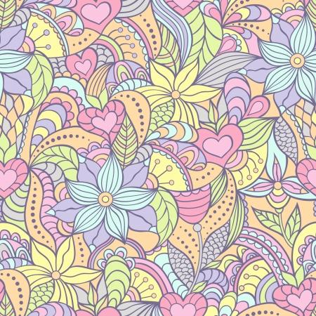 mariposa azul: Ilustración vectorial de patrón transparente con fondo abstracto flowers.Floral