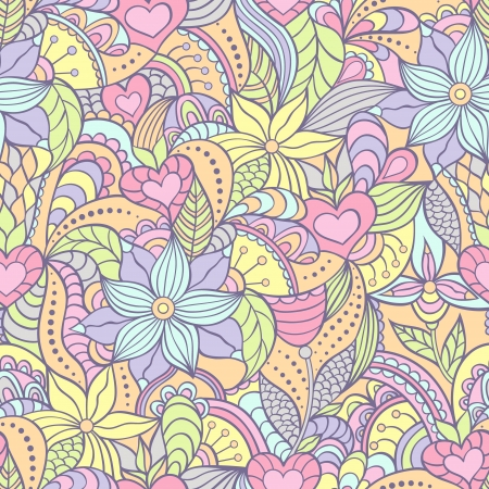 blue background: Vector illustration of seamless pattern with abstract flowers.Floral background Illustration