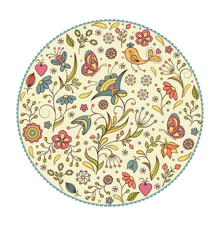 beautifu: Vector illustration of floral hand drawn colorful pattern  Illustration