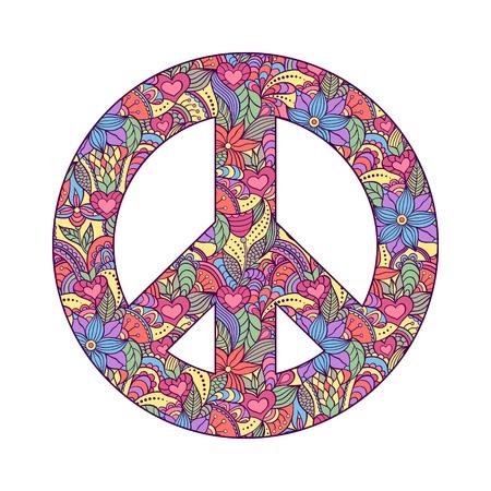 simbolo paz: Ilustración de colorido símbolo de la paz en el fondo blanco