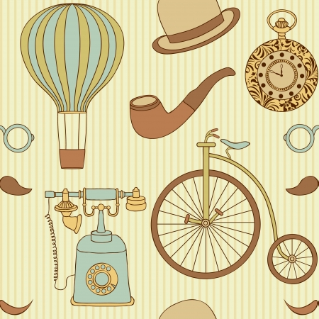 vintage telephone: illustration of seamless pattern with different retro objects Illustration