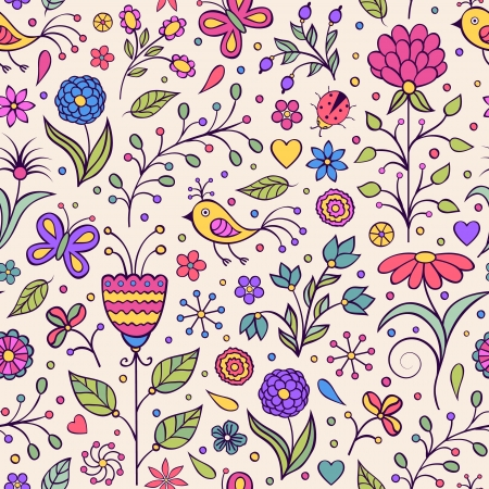 Vector illustration of seamless pattern with abstract flowers.Floral background Stock Vector - 19795861