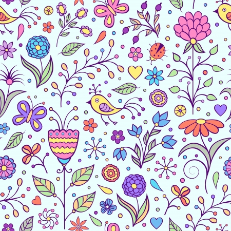 Vector illustration of seamless pattern with abstract flowers.Floral background Illustration