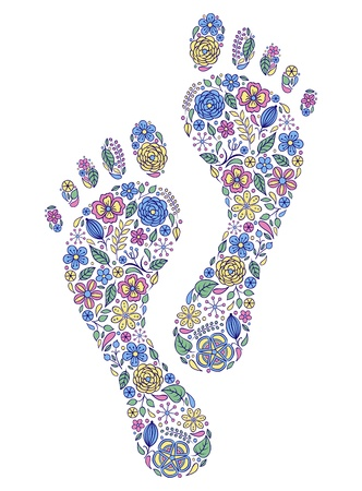 huellas de pies: Ilustraci�n vectorial de huellas humanas florales sobre fondo blanco