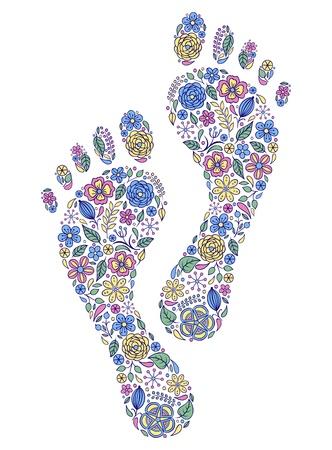 Vector illustratie van bloemen menselijke voetafdrukken op een witte achtergrond