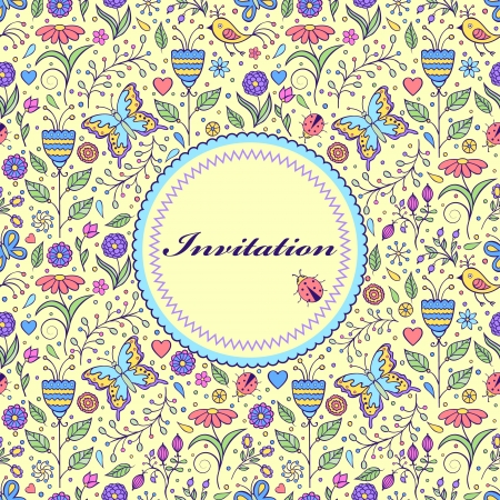 Vector illustration of floral invitation card ( or place your text) Vector