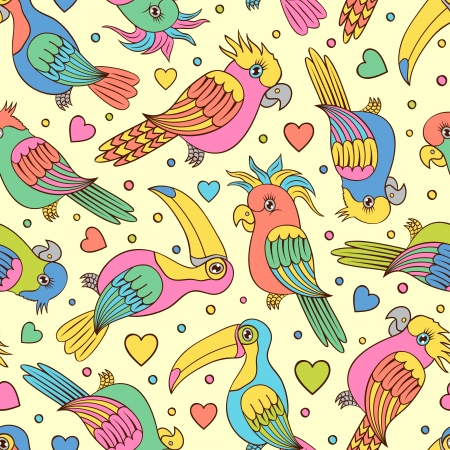 cockatoo: Vector illustration of seamless pattern witn tropical birds - toucans and parrots Illustration