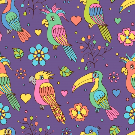 Vector illustration of seamless pattern witn tropical birds - toucans and parrots Illustration
