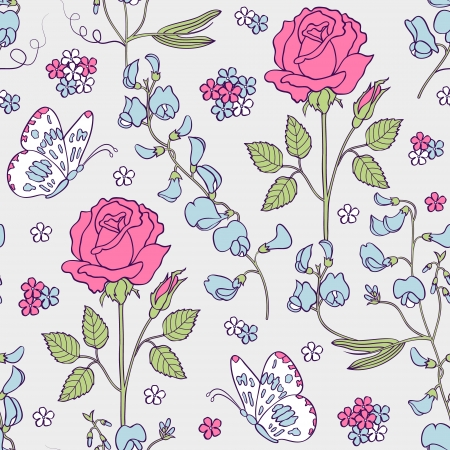 Vector illustration of seamless pattern with summer flowers.Floral background Çizim