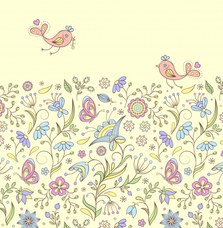 Vector illustration of pattern with abstract flowers and birds. Vector