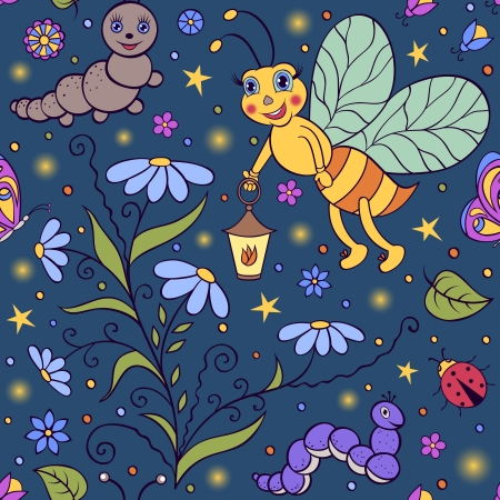 Vector illustration of seamless pattern with cute firefly in the night. Vector