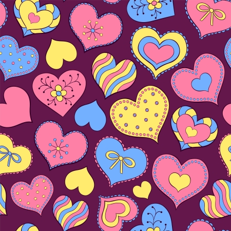 Vector illustration of seamles spattern with colorful valentine hearts Vector