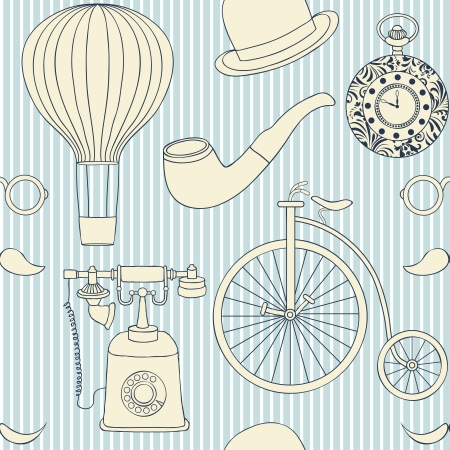 Vector illustration of seamless pattern with different retro objects Vector