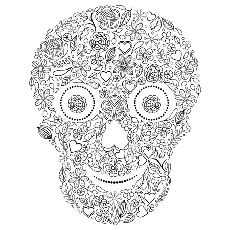 Vector illustration of abstract floral skull isolated  on white background  Vector