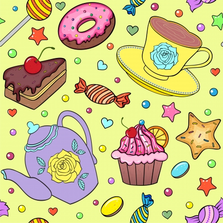 Vector illustration of seamless pattern with sweets, teapot and cup Vector