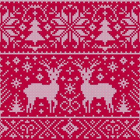 punto cruz: Ilustración del vector de la Navidad sin patrón, con ciervos, árboles y copos de nieve