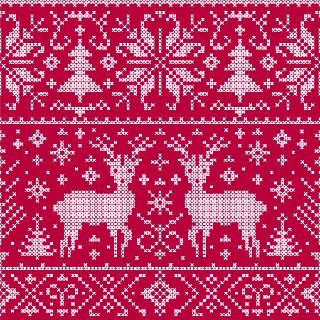 scandinavian winter: Vector illustration of christmas seamless pattern with deers, trees and snowflakes