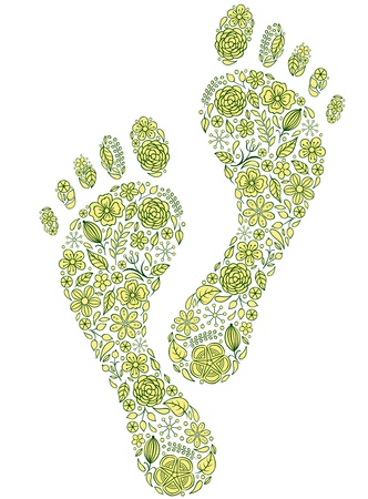 illustration of green human footprints on white background Vector