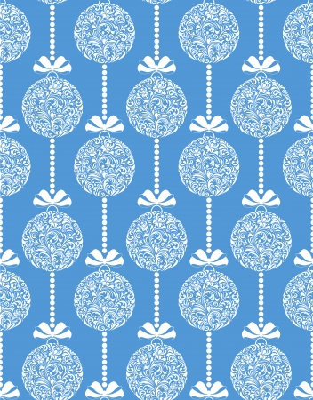 Vector illustration of seamless pattern with floral christmas balls Vector