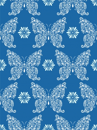 Vector illustration of seamless pattern with abstract floral butterflies on blue background Vector