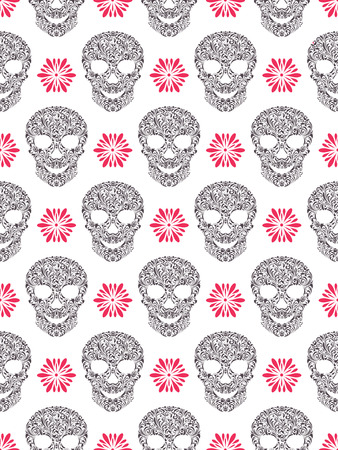 Vector illustration of seamless pattern with abstract floral skulls Vector