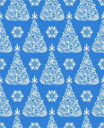 Vector illustration of seamless pattern with abstract christmas trees Vector