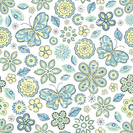 Vector illustration of seamless pattern with abstract flowers and butterflies.Floral background Vector