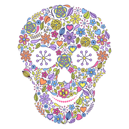 Vector illustration of abstract floral skull isolated on white background. Vector