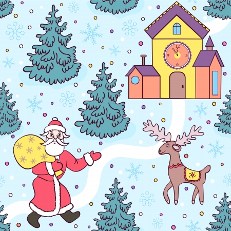 Vector illustration of cute  christmas seamless pattern Vector