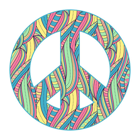 simbolo della pace: Illustrazione vettoriale di colorato simbolo della pace su sfondo bianco