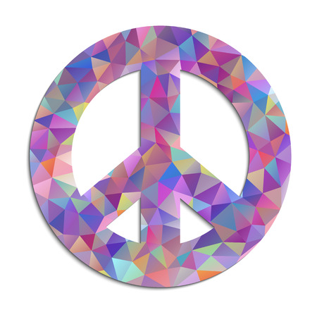 green peace: Vector illustration of colorful peace symbol on white background