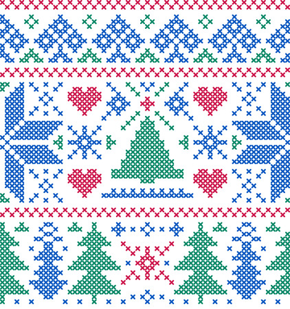 red stitches: Vector illustration of christmas seamless pattern with  trees and snowflakes Illustration