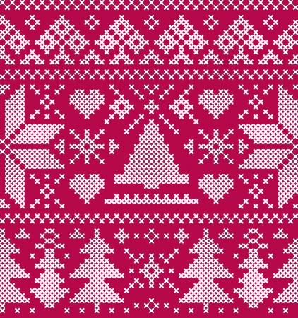 christmas seamless pattern: Vector illustration of christmas seamless pattern with  trees and snowflakes Illustration