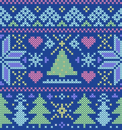 red stitches: Vector illustration of christmas seamless pattern with  trees,hearts and snowflakes