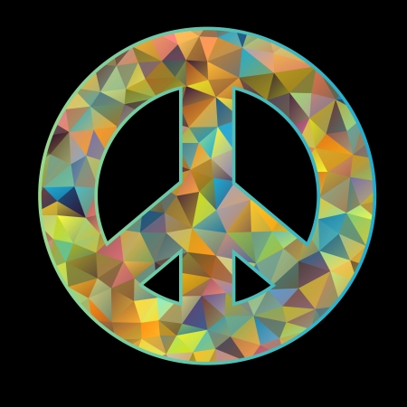 Vector illustration of colorful peace symbol on black background Vector