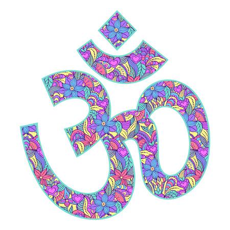 om: Vector illustration of floral Om symbol on white background