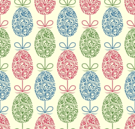 Vector illustration of seamless pattern with easter eggs Vector