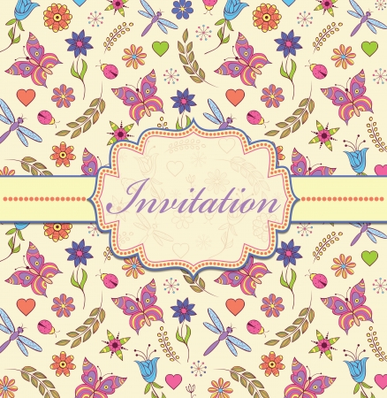 Vector illustration of colorful floral invitation card ( or place your text) Vector