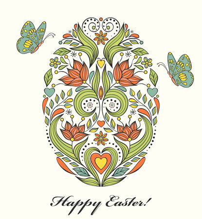 butterfly hand: Vector illustration of floral easter egg and butterflies