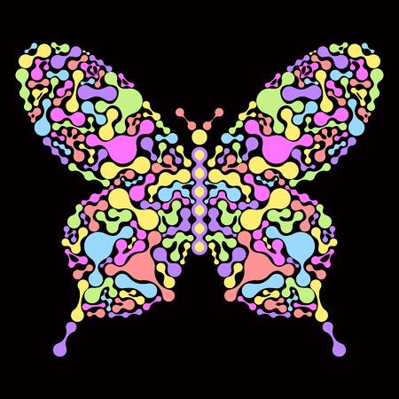 butterfly abstract: Ilustraci�n del vector de la mariposa abstracta sobre fondo negro Vectores