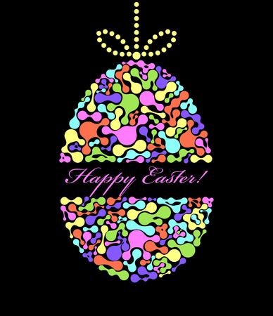 Vector illustration of colorful easter egg on black background Vector